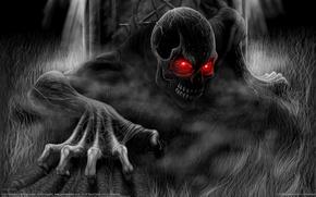 Picture skull, black and white, monster, Death, Andrew Dobell