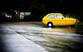 Wallpaper Yellow, Asphalt, Bad weather