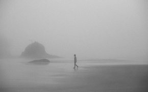 Picture misty, beach, rocks, fog, boy, foggy, mist, walking