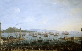 Wallpaper picture, seascape, Antonio Joli, A view of the Port of Charles de Bourbon from the ...