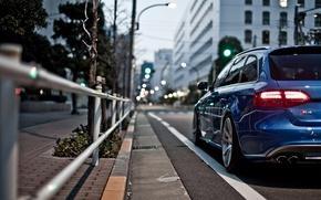 Picture blue, the city, audi, street, blur, bokeh, universal