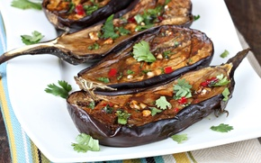 Picture eggplant, vegetables, spices, appetizer, baked