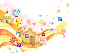 Picture fantasy, home, candy, sweet, lollipops, twirl, baby Wallpaper, cherry