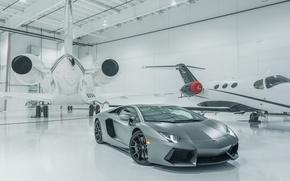 Picture Lamborghini, Front, LP700-4, Aventador, Supercar, Silver, Plane, Angar
