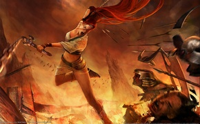 Picture girl, weapons, fire, Heavenly Sword, rage, blow, battle, pain, arrows, Nariko, NARIC