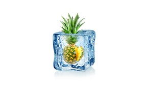 Picture drops, abstraction, water, art, ice, cube, pineapple, water, ice, fruit, frozen, drops, pineapple, white background, …