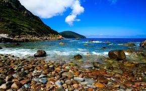 Picture sea, the sky, clouds, mountains, stones, shore, France, horizon, Corsica