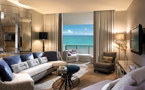 Wallpaper design, style, room, the ocean, view, interior, pillow, chairs, balcony, table, sofas, beige, living room