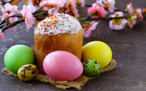 Picture flowers, branches, holiday, Board, eggs, Easter, cake, napkin, Easter, eggs