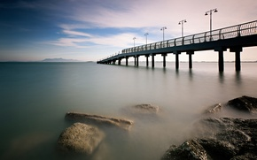 Picture morning, bridge, Malaysia, pierce, shore, sea, clouds, the sky, calm, stones