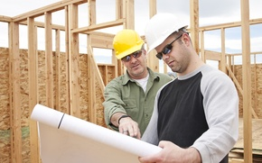 Picture planes, workers, construction, wooden structure