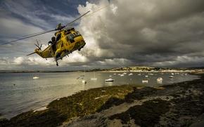 Picture beach, shore, boat, boat, helicopter, salvation, Devon