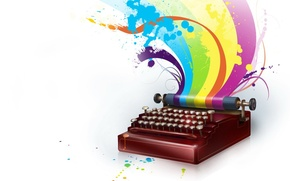 Picture Color, rainbow, typewriter