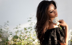 Picture light, flowers, face, Girl, Shay Mitchell