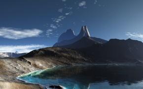Wallpaper lake, rocks, panorama, Mountains