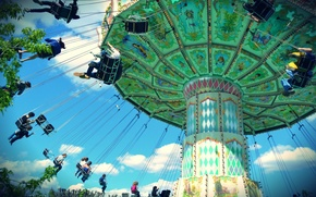 Picture the sky, people, Carousel