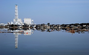 Picture the wreckage, water, reflection, Japan, home, tsunami, flood, ruins