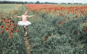 Wallpaper girl, field, dance, Maki