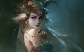 Picture look, girl, decoration, fiction, art, claws, horns, demoness