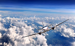Wallpaper engines, Over clouds, the rise, the sky, airplane, the plane, clouds