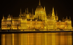 Picture night, lights, river, Parliament, Hungary, Budapest, The Danube