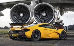 Picture McLaren, Yellow, The plane, Machine, Ass, McLaren, Supercar, Yellow, The airfield, Supercar, Turbine