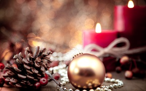 Picture winter, toy, ball, candles, ball, blur, New Year, Christmas, gold, bump, Christmas, holidays, New Year, …