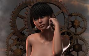 Picture look, girl, face, rendering, background, hair, earrings, hands, gear, shoulders