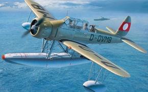 Picture war, art, airplane, painting, aviation, ww2, Arado Ar 196 B