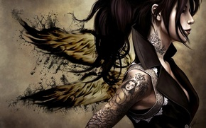 Picture Girl, angel, tattoo on hand men
