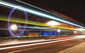 Picture night, lights, London, Ferris wheel