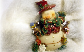 Wallpaper snowman, toy, new year