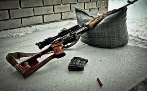 Wallpaper weapons, sleeve, sniper, rifle, strap, pillow, optics, clip, Dragunov, SVD