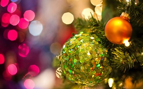 Picture branches, holiday, balls, toys, new year, Christmas, spruce, tree, bokeh