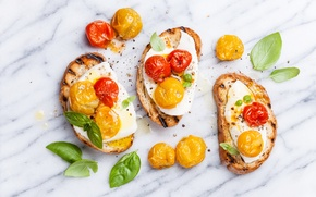 Picture photo, Cheese, Leaves, Tomatoes, Food, Sandwiches, Scrambled eggs, Bread