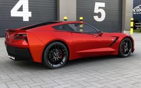 Picture coupe, Chevrolet, art, USA, corvette, Stingray, Sports car, General Motors, 2014, dangeruss, double rear-drive sports …