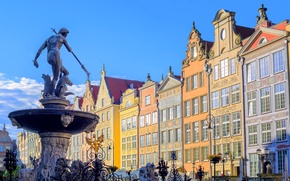 Picture street, home, Poland, fountain, Neptune, Sunny, Gdansk, Gdansk, The Fountain Of Neptune
