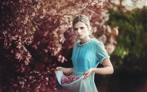Picture nature, spring, garden, girl