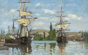 Picture landscape, picture, Claude Monet, Sailing Ships on the Seine in Rouen