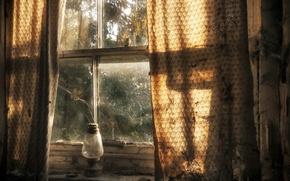 Wallpaper lamp, curtains, window