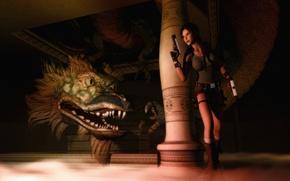 Picture dragon, guns, Tomb Raider, column, dungeon, Lara Croft
