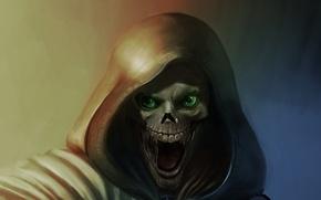 Picture death, fantasy, skull, art, hood, horror, Horror