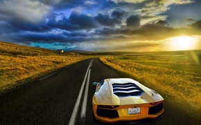 Picture road, field, the sky, the sun, yellow, Lamborghini, Lamborghini, Blik, yellow, Lamborghini, LP700-4, Aventador, Aventador, ...