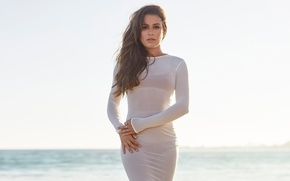 Picture sea, the sky, the sun, makeup, figure, dress, actress, horizon, hairstyle, singer, brown hair, is, …