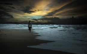 Picture sea, girl, coast