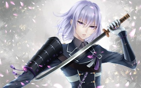 Picture sword, katana, petals, form, Guy, lilac eyes