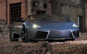 Wallpaper the ruins, front view, reverton, lamborghini, black