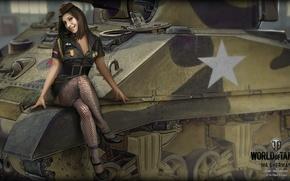 Picture girl, brunette, tank, girl, America, tanks, WoT, World of tanks, tank, World of Tanks, tanks, …