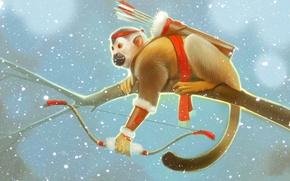 Picture winter, snow, branch, bow, monkey, arrows, art