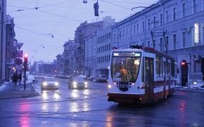 Wallpaper Sadovaya street, Tram, Saint Petersburg, The evening
